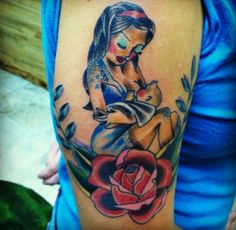 Beautiful & colorful breastfeeding tattoo for a nursing mom!
