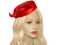 Vintage Pillbox Hat Red Satin Emme 1950s by PearlModern on Etsy, $195.00