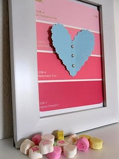 """valentine art"" with paint samples - http://johnsonfamily23.blogspot.com/2011/01/paint-swatch-art-this-is-day-2-of-my.html"