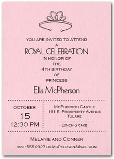 Princess Tiara Birthday Party Invitations from TheInvitationShop.com