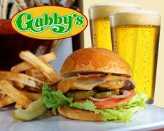 $18 for 2 NEW Premium Handcrafted Burgers, 2 Side Fries and 2 20oz. Pints of Domestic Beer - Choose from 14 Gabby's Locations Pints, Burgers, Hamburger, Fries, Food And Drink, Beer, Ethnic Recipes, Pint Glass, Hamburgers
