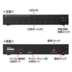 USB2.0 10ポートハブ(ブラック)の画像一覧 - サンワサプライ株式会社