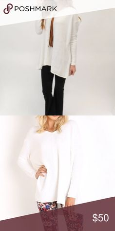 Show me your mumu cloudy white overtop sweater SM Show me your mumu overtop sweater in cloudy white. Cute oversized fit. Worn one time. Looks great with jeans or the floral bam bam bells pictured that I also have listed in my closet. Sweaters Crew & Scoop Necks