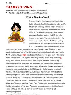 Thanksgiving, English, Learning English, Vocabulary, ESL, English Phrases, http://www.allthingstopics.com/thanksgiving.html