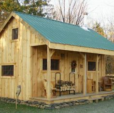 Kit House - DIY Kit House The folks at Jamaica Cottage Shop offer a kit for their x Vermont cottage, a 'roll your own' residence that takes two people roughly 40 hours to construct. The interior can be outfitted a number of ways; a sleeping loft can b. Tiny Cabins, Tiny House Cabin, Cabins And Cottages, Tiny House Living, Tiny House Plans, Log Cabins, Wooden Cabins, Cottage House, House 2