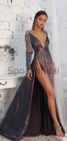 A-line Long Sleeves High Slit Deep V-neck Simple Formal Long Prom Dresses, evening dress A-line Long Sleeves High Slit Deep V-neck Simple Forma : A-line Long Sleeves High Slit Deep V-neck Simple Formal Long Prom Dresses, evening dress A Line Dress Formal, Formal Dresses With Sleeves, Elegant Dresses For Women, Elegant Prom Dresses, Blue Wedding Dresses, Satin Dresses, Evening Dresses, Bridesmaid Dresses, Classy Gowns