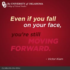 """""""Even if you fall on your face, you're still moving forward."""" – Victor Kiam #motivation #quotes"""