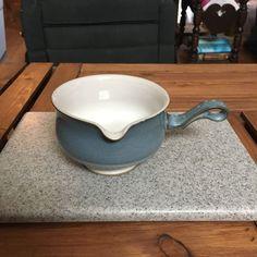 Vintage Blue Denby Castile Stoneware Pottery Gravy Server #Denby