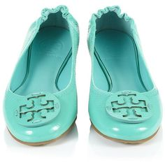 Tory Burch Reva Patent Flat ($330) ❤ liked on Polyvore love this color too!