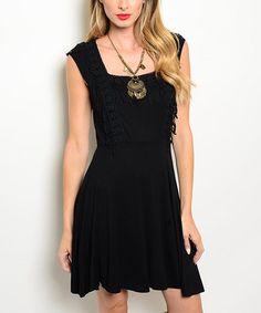 Loving this Black Crochet-Trim Fit & Flare Dress on #zulily! #zulilyfinds