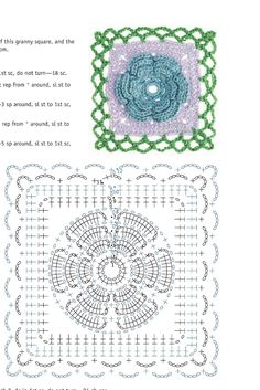 Transcendent Crochet a Solid Granny Square Ideas. Inconceivable Crochet a Solid Granny Square Ideas. Diy Crochet Granny Square, Motifs Granny Square, Crochet Squares, Crochet Motif Patterns, Crochet Chart, Crochet Designs, Crochet Stitches, Crochet Puff Flower, Crochet Flowers