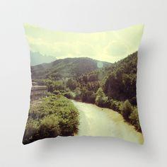 Between Mountains  Throw Pillow by Victoria Herrera - $20.00