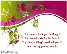 Thank you poems for you to use in your thank you cards!