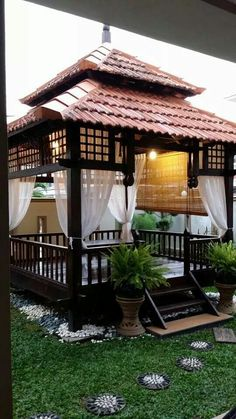 Diy Gazebo, Backyard Gazebo, Garden Gazebo, Backyard Patio Designs, Pergola, Village House Design, Village Houses, Outdoor Spaces, Outdoor Living