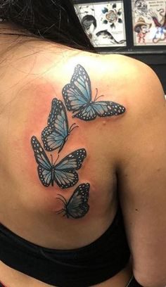 Butterfly Thigh Tattoo, Colorful Butterfly Tattoo, Butterfly Tattoo Cover Up, Butterfly Tattoo On Shoulder, Butterfly Tattoos For Women, Shoulder Tattoo, Girl Thigh Tattoos, Red Tattoos, Pretty Tattoos