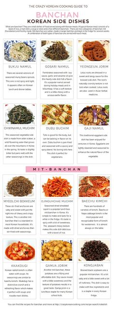 What are all those little bowls of side dishes served with a Korean meal? They are called banchan. There are endless variations of banchan, but here's a guide of popular ones served at most Korean meals: Korean Food Bibimbap, Vegan Bibimbap, Bibimbap Recipe, Banchan Recipe, Dolsot Bibimbap, Healthy Korean Recipes, Vegan Korean Food, South Korean Food, Korean Cuisine