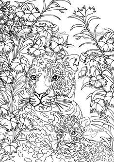 Coloriage d'un Léopard et de son petit. C'est mignon :-) A vos crayons !