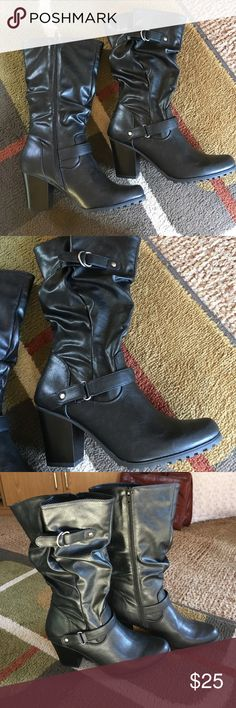 "Apt 9 boots🌺 NWOT🌺 boots never worn 🌺inside zipper silver hardware🌺heel 3"" 🌺top to floor boot measures approx 14"" Apt. 9 Shoes Heeled Boots"