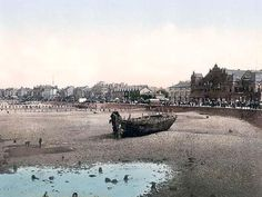 England in the 19th century postcards.  View from stone pier, Morecambe, England.