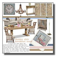 """""""shabby chic breakfast nook"""" by valuecityfurn ❤ liked on Polyvore featuring interior, interiors, interior design, home, home decor, interior decorating, Polaroid, Dot & Bo, Pier 1 Imports and vintage"""