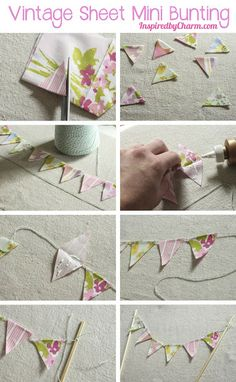 DIY Vintage Sheet Mini Bunting via Inspired by Charm for Strawberry Malt Ball cake Invitation Fete, Bunting Garland, Diy Mini Bunting, Bunting Ideas, Cake Bunting, Fabric Bunting, Fabric Crafts, Paper Crafts, Sewing Projects