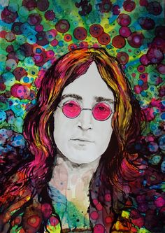 "ARTFINDER: Psychedelic John by raffaella bertolini - As part of my ""Icons"" series, an homage to the great and legendary John Lennon.  Alcohol Inks, Black Indian Ink on Yupo paper."
