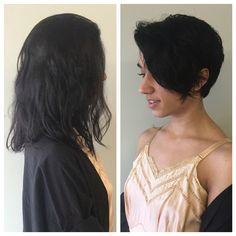 Before and after. Haircut. Pixie cut. Short hair. Razor cut. Textured hair. Lived in hair. Bumble and bumble