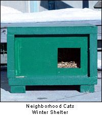 "Neighborhood Cats / Feral Cat Winter Shelter. I've made several of these. Use 2""rigid foil coated insulation...foil side in uses cat's own body heat to warm the shelter."