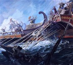 """The ancient #Greek historian, Herodotus (Ἡρόδοτος) wrote in Book 7, Chapter 50, """"Great things are won by great dangers."""" (Artist: Stanley Meltzoff - Battle of Salamis, September, 480 BC)"""