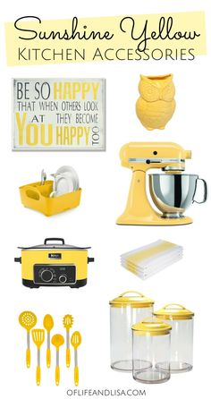 Yellow decor and kitchen accessories for Yellow Lovers Hope you enjoy this nice roundup of kitchen must-haves yellow yellowaesthetic kitchendesign kitchenideas kitchendecor kitchendecorideas # Lemon Kitchen Decor, Yellow Kitchen Decor, Yellow Home Decor, Farmhouse Kitchen Decor, Home Decor Kitchen, Sunflower Decor For Kitchen, Yellow Kitchen Accents, Yellow Decorations, Kitchen Design