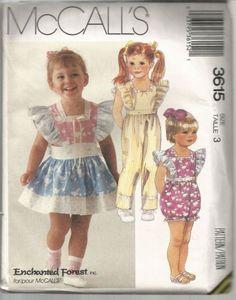 Toddler Girls Jumpsuit Apron Romper Pattern Uncut Size 3