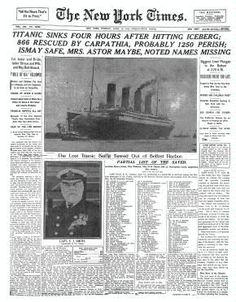 HUNDIMIENTO TITANIC - publicado 16 de Abril 1912