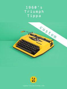 REFURBISHED TO ORDER ► Fully working yellow Triumph Tippa typewriter