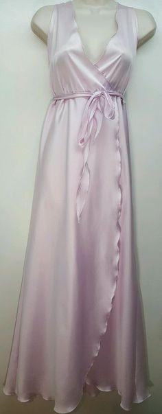 VTG Victoria's Secret pink satin 70's USA union label nightgown w/ belt L/XL #VictoriasSecret