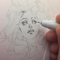 Sunday morning (7:37 am) #mitografia #kennethrocafort #early #illustrator #drawing #art #illustration #comics #dynamite #cover #comicbooks #coverart #sexy #lips #sensual #barbarellas #ink #inking #pencil #draweveryday #artlife #artaddict #scifi #retro