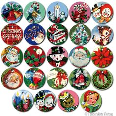 24 Round Vintage Christmas Gift Tags