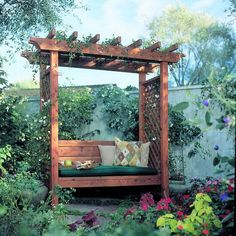 How to Build a Garden Arbor Bench We have a very small yard so I may try this. DIY Garden Arbor Be Backyard Projects, Outdoor Projects, Backyard Ideas, Modern Backyard, Outdoor Spaces, Outdoor Living, Outdoor Tables, Diy Arbour, Arbor Bench