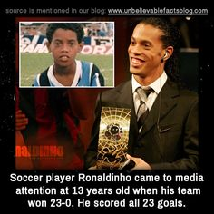 Soccer player Ronaldinho came to media attention at 13 years old when his team won 23-0. He'd scored all 23 goals.