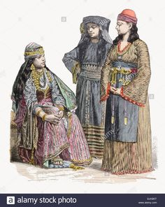 19th-century-xix-syria-left-to-right-woman-of-damascus-muslim-lady-DJH2KT.jpg…