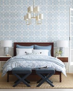 Guide To Discount Bedroom Furniture. Bedroom furnishings encompasses providing products such as chest of drawers, daybeds, fashion jewelry chests, headboards, highboys and night stands. Blue Gray Bedroom, Blue Rooms, White Bedroom, Master Bedroom, Bedroom Decor, Bedroom Ideas, Bedroom Bed, Dream Bedroom, Bed Room