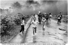 Children running away from the inferno, they sustained bad burns when a napalm bomb was dropped in their village  https://globalwatchmanblog.wordpress.com/tag/cu-chi/