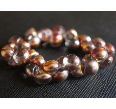 25pcs Czech Glass Mushroom Button Beads 9x8mm Crystal Sliperit