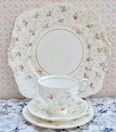 Paragon China Tea Trio - Serving Plate, Tea Cup, Saucer, Plate, Floral, Gilt Bone China, Violet Pompadour, Excellent Condition by ImagineHowCharming on Etsy