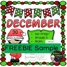 Enjoy these two free pages with answer keys to use with your students for holiday happiness! They are part of my December No Prep! Grade 3! Math product! Check out more NO Prep Math products:
