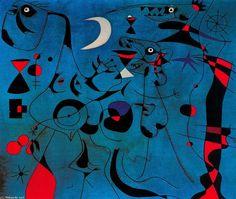 Joan Miro >> Personajes en la noche guiados por los rastros fosforescentes de los caracoles