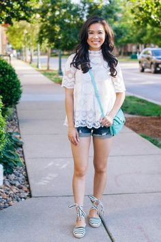 COLOR & CHIC | Lemon lace blouse with striped lace up espadrilles