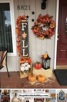 These cute fall porch ideas are guaranteed to look stunning! From memorable door. These cute fall porch ideas are guaranteed to look stunning! From memorable doormats to beautiful staircase decor ideas there& something for everyone! Fall Home Decor, Autumn Home, Front Porch Fall Decor, Fall Decor Outdoor, Fall Decor For Porch, Fall Front Porches, Fromt Porch Ideas, Front Porch Decorating For Fall, Fal Decor
