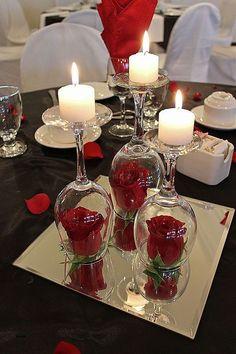 Christmas Table Centerpieces, Diy Centerpieces, Wedding Table Centerpieces, Wine Glass Centerpieces, Graduation Centerpiece, Table Wedding, Fishbowl Centerpiece, Wedding Reception, Dollar Tree Centerpieces
