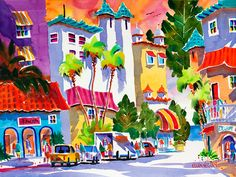 "Watercolor Print of Delray Beach, Florida: Matted Print ""Life is Good in Delray"" featuring downtown Atlantic Ave. and Colony Hotel on Etsy, $40.00"