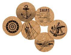 Printed Natural Cork Coasters - Nautical